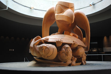 The Raven and the First Men sculpture by Bill Reid Museum of Anthropology